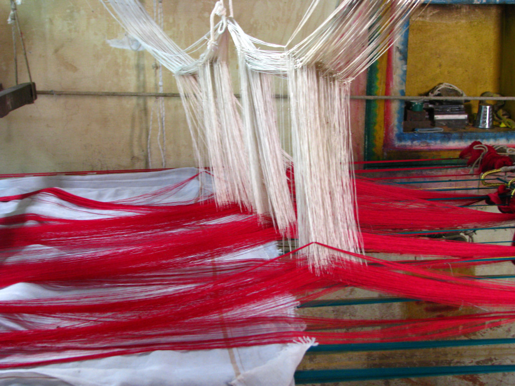 silk sari weaving at kanchipuram, tamil nadu