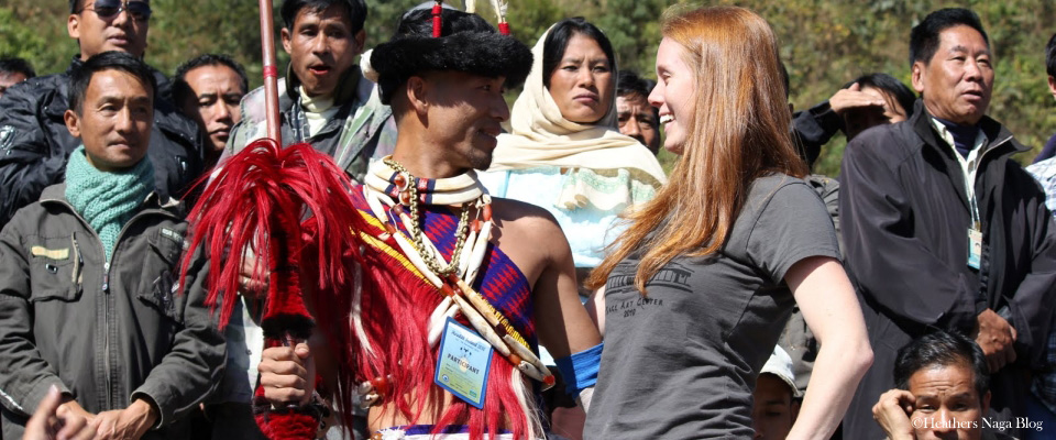 tourist with naga warrior