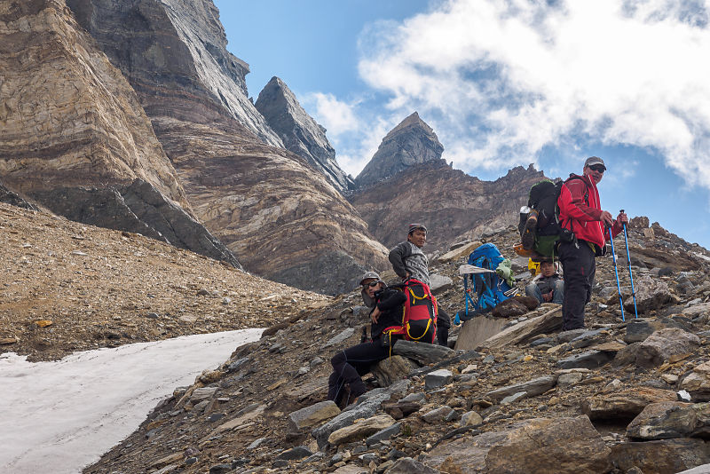 The lower part of the climb to camp 1 - Nun Expedition