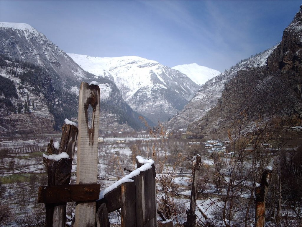 Sangla valley during snow fall