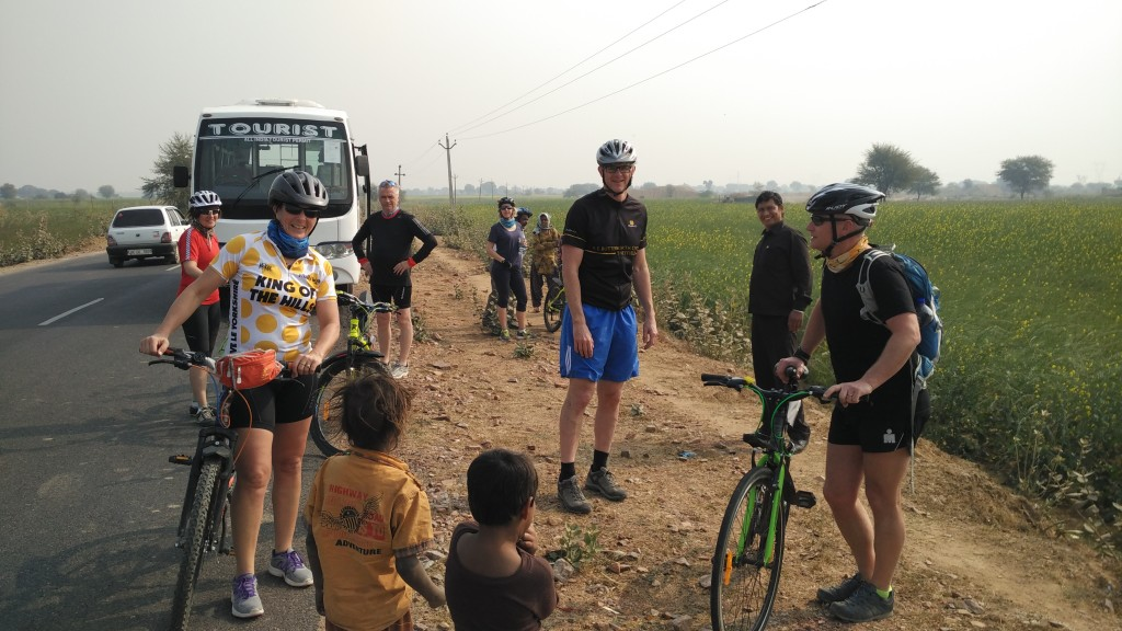 interacting with locals while cycling tour