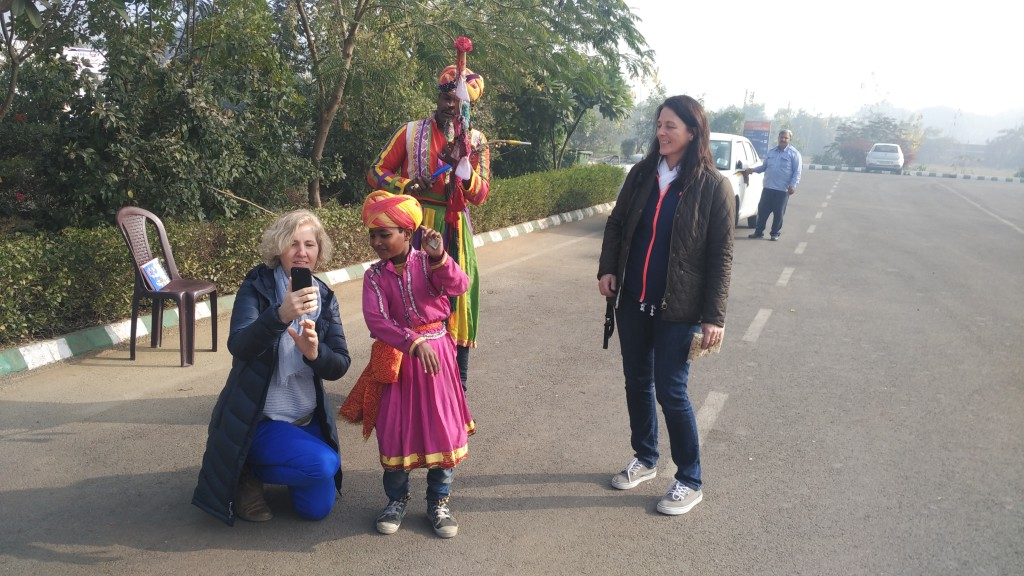 Ineracting with child artist during rajasthan cycling tour