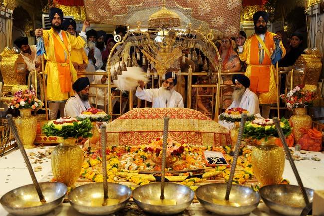 Guru Granth Sahib inside The Golden Temple