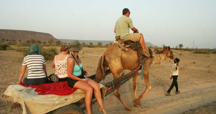 camel safari village tour in rajasthan