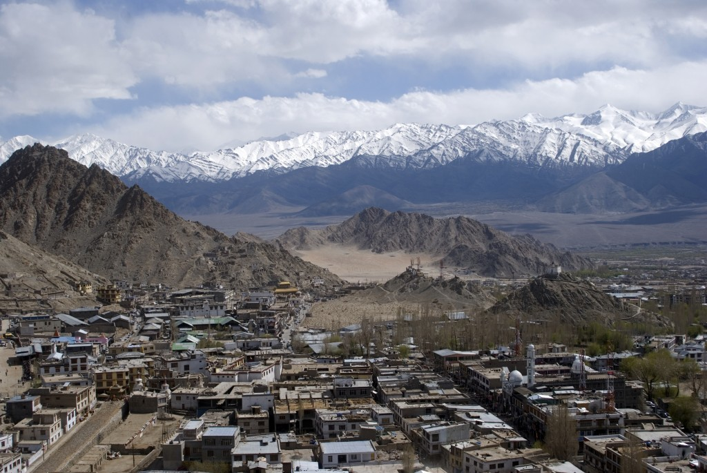 Leh with mountains in background