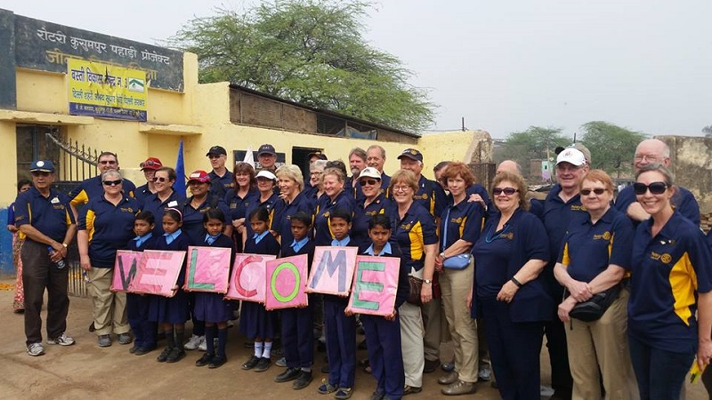 Rotary NID team welcome by school children