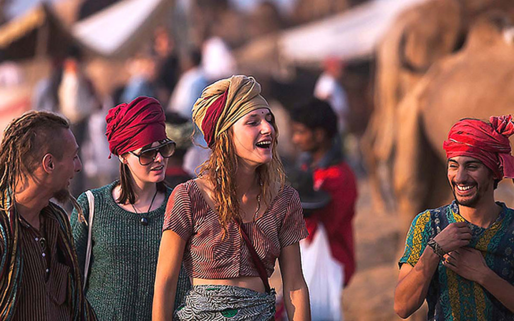 Tourist in pushkar fair