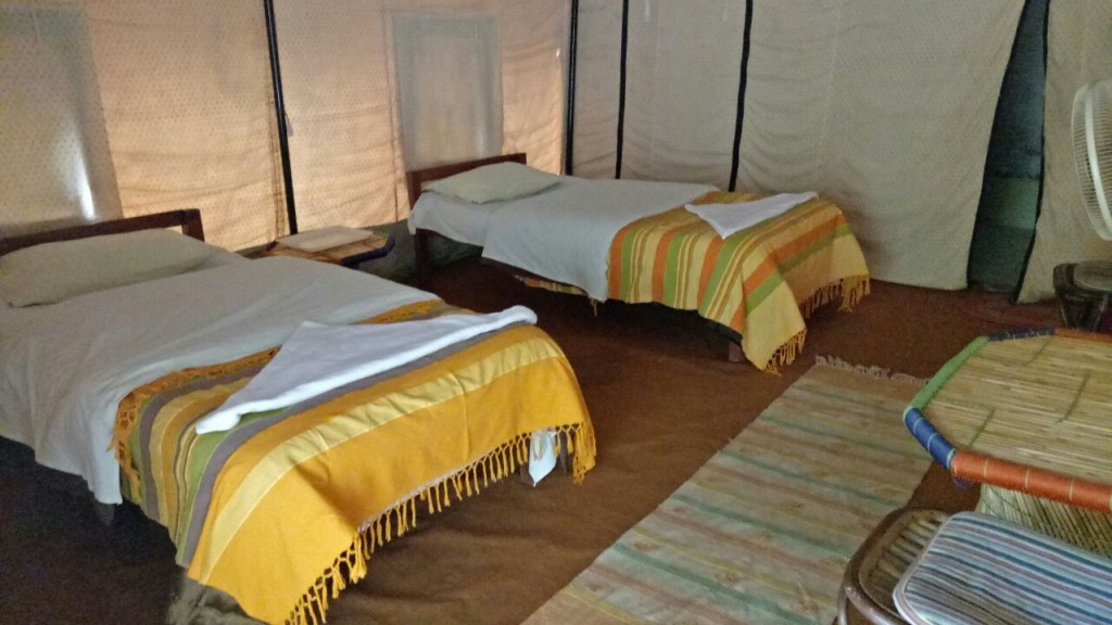 Inside view of Swiss cottage tent